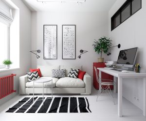 At just 30 square meters, this lovely little apartment boasts a huge personality with its super bold color theme. Bright red accents play across a pristine canvas of white walls and floors for a look that balances the best of simplicity and incredible energy. Black details add a touch of formality to the scene, sometimes even serving as a way to center the eye with its heavier visual weight.