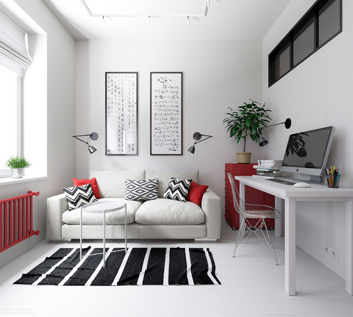 Color Theme Ideas For Small Apartments - 3 small apartments that rock uncommon color schemes with floor plans