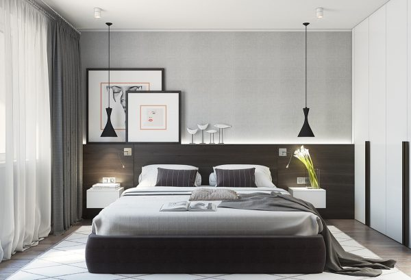 Emanating Relaxation A Dark Wooden Headboard Mirrors The TV Room Light Grey  Walls Kitchen Floor Black Hanging Lights Match White Counterparts In  Spacious ...