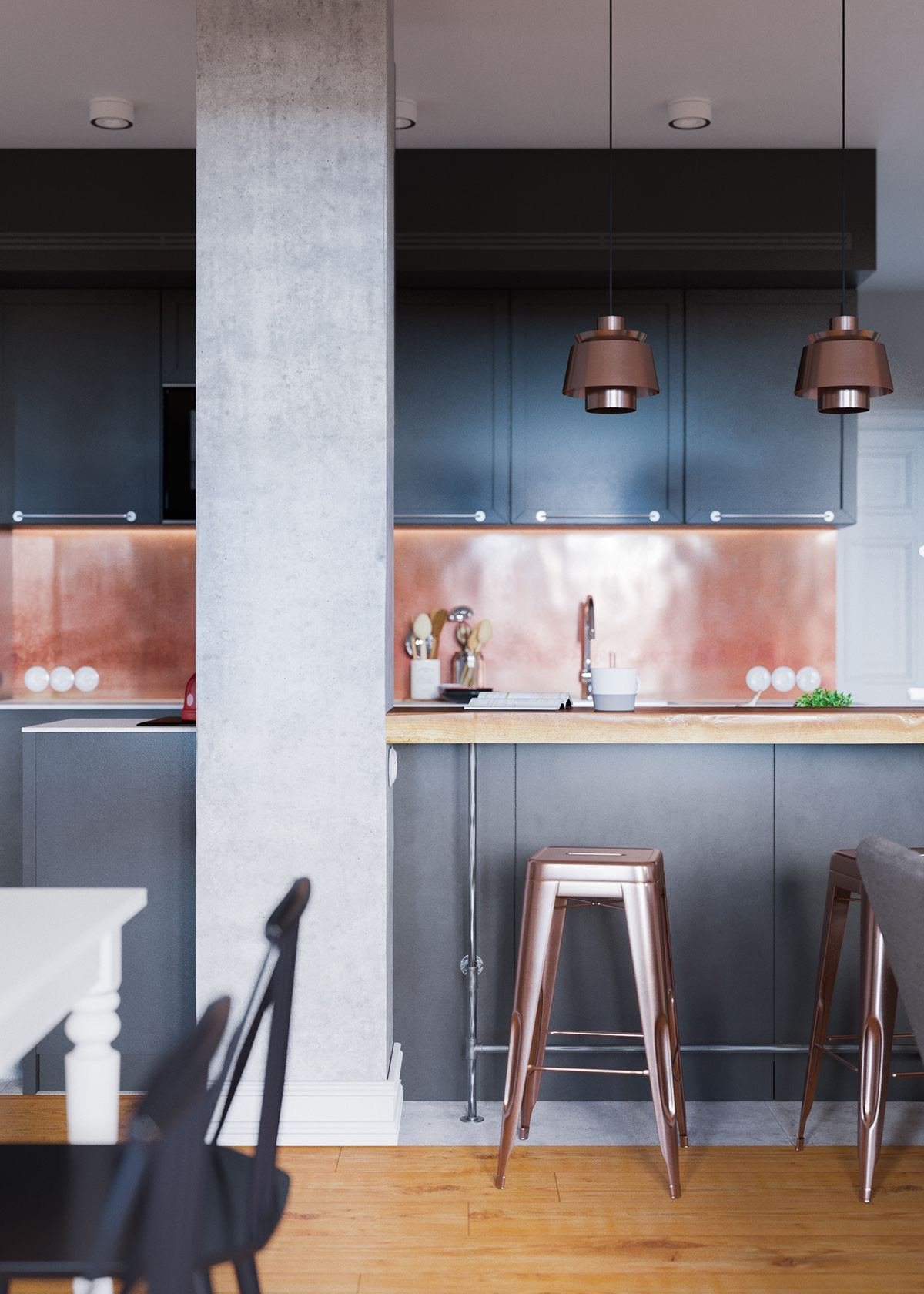 Copper And Black Kitchen Theme - A beautiful one bedroom bachelor apartment under 100 square meters with floor plan