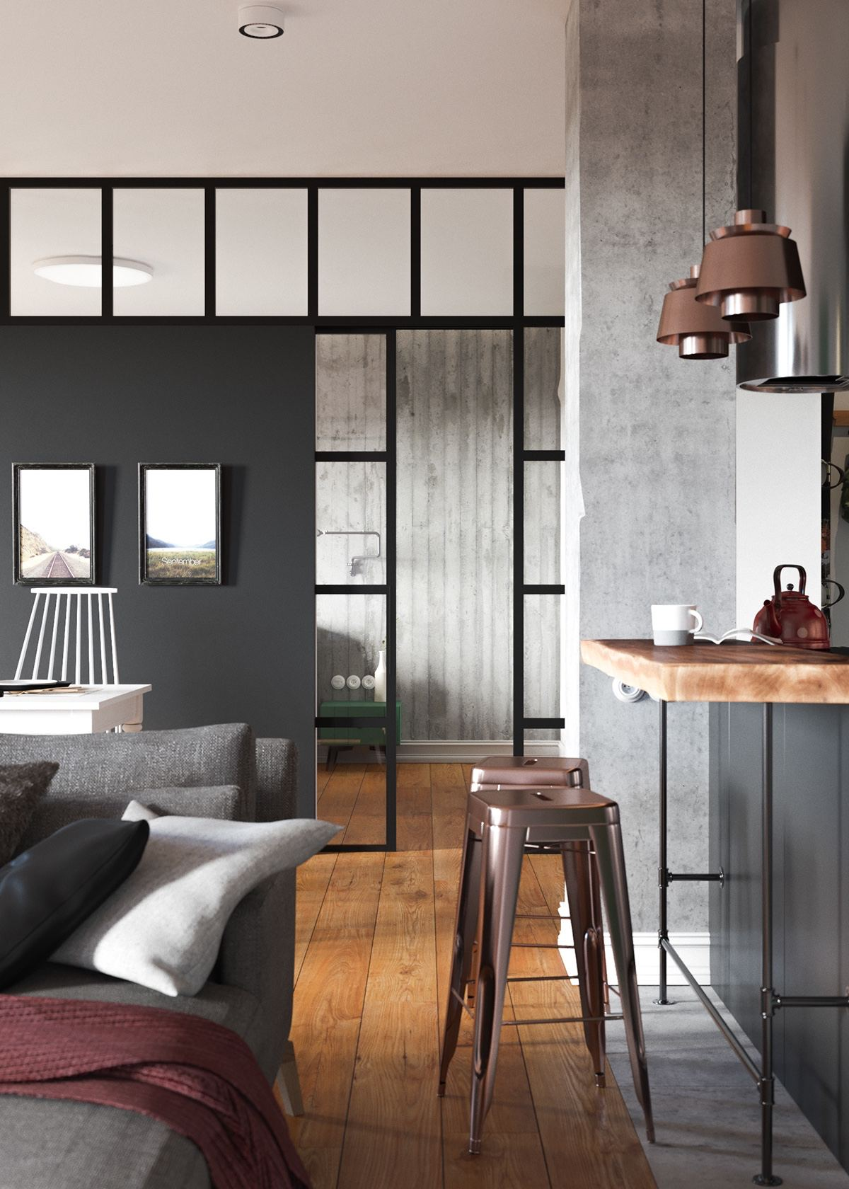 Copper And Grey Decor Theme - A beautiful one bedroom bachelor apartment under 100 square meters with floor plan
