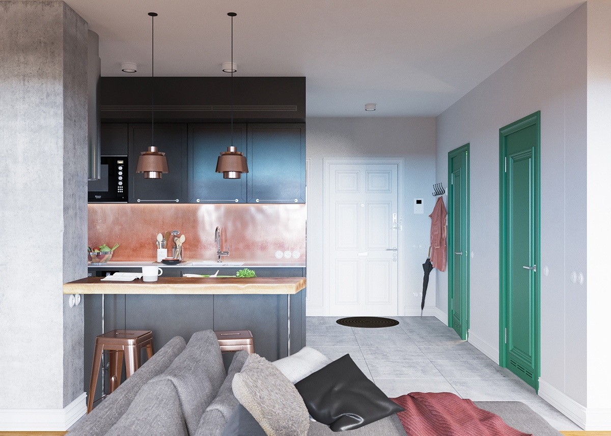 Copper And Seafoam Green Home Design Palette - A beautiful one bedroom bachelor apartment under 100 square meters with floor plan