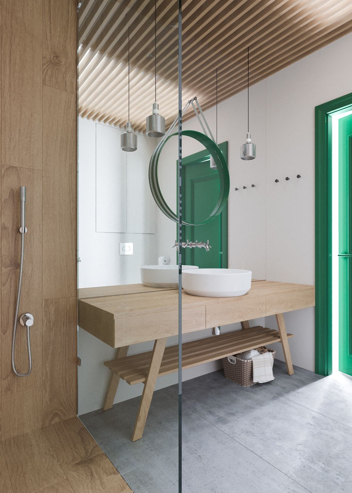 Creative Bathroom Mirror Ideas - A beautiful one bedroom bachelor apartment under 100 square meters with floor plan