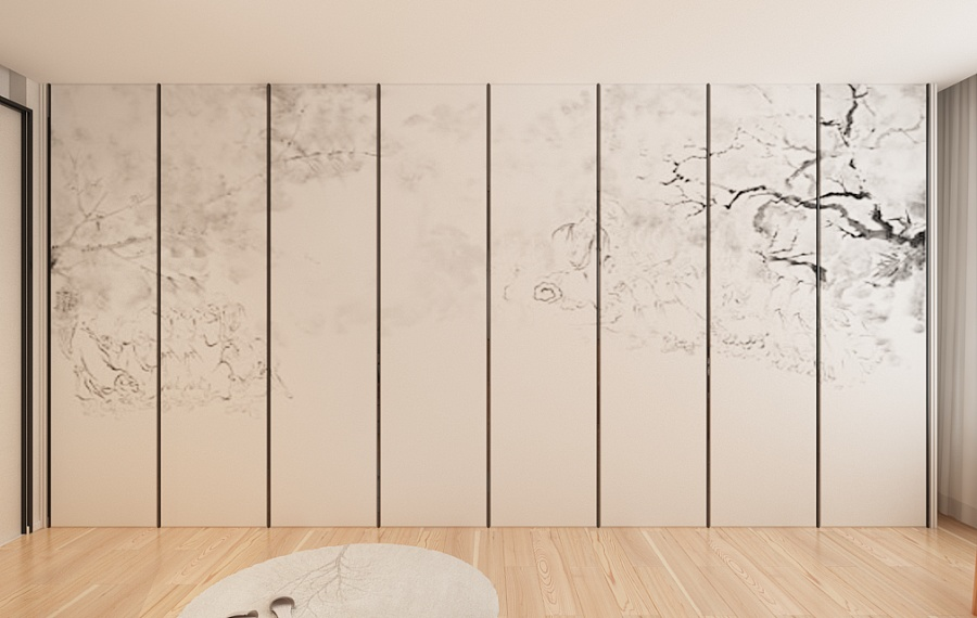 Decorative Chinese Wall Panel Ideas - A beautiful 2 bedroom modern chinese house with zen elements includes 3d floor plan