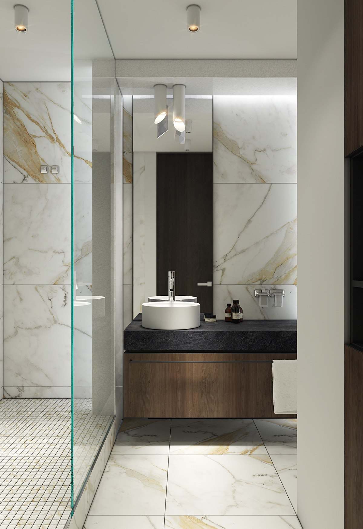 Elongated Bathroom Long Glass And Mirror Panels - Spacious looking one bedroom apartment with dark wood accents