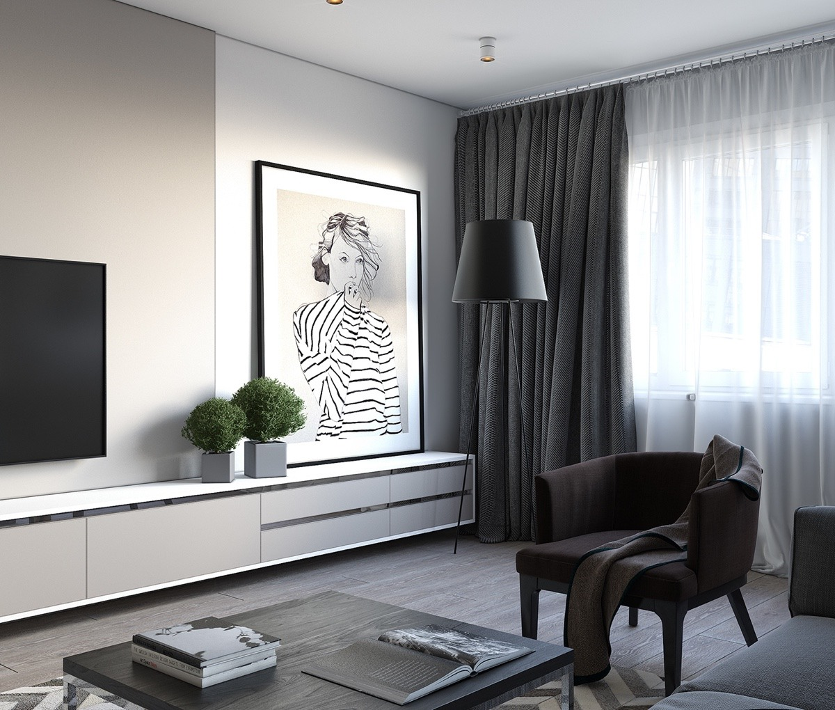 Feature Illustration Contemporary TV Room Apartment - Spacious looking one bedroom apartment with dark wood accents