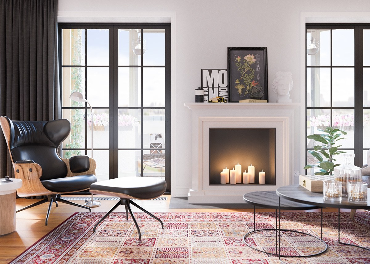 Fireplace With Candles - A beautiful one bedroom bachelor apartment under 100 square meters with floor plan