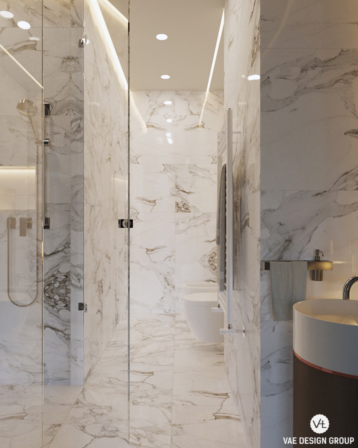 Floor To Ceiling Grey Marble Elegant Bathroom - 3 small studio apartments that exude luxurious space