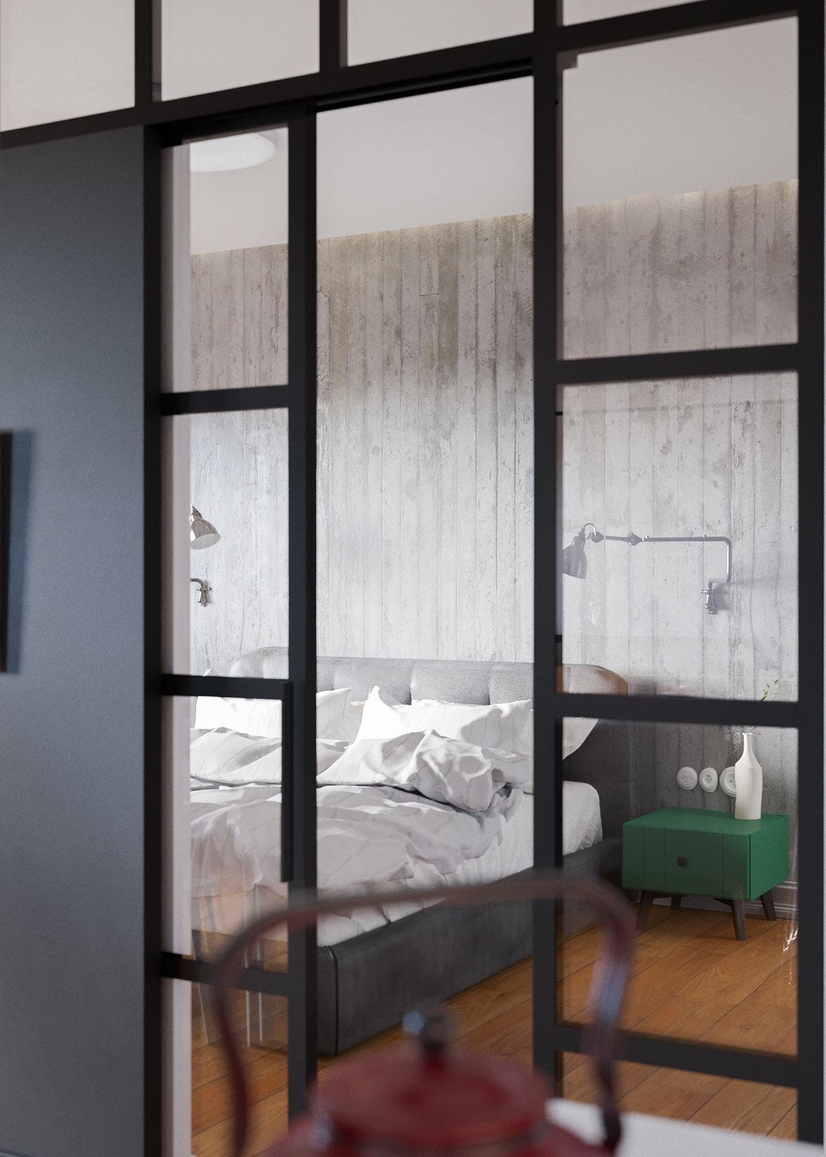 Grey And Green Bedroom Decor - A beautiful one bedroom bachelor apartment under 100 square meters with floor plan