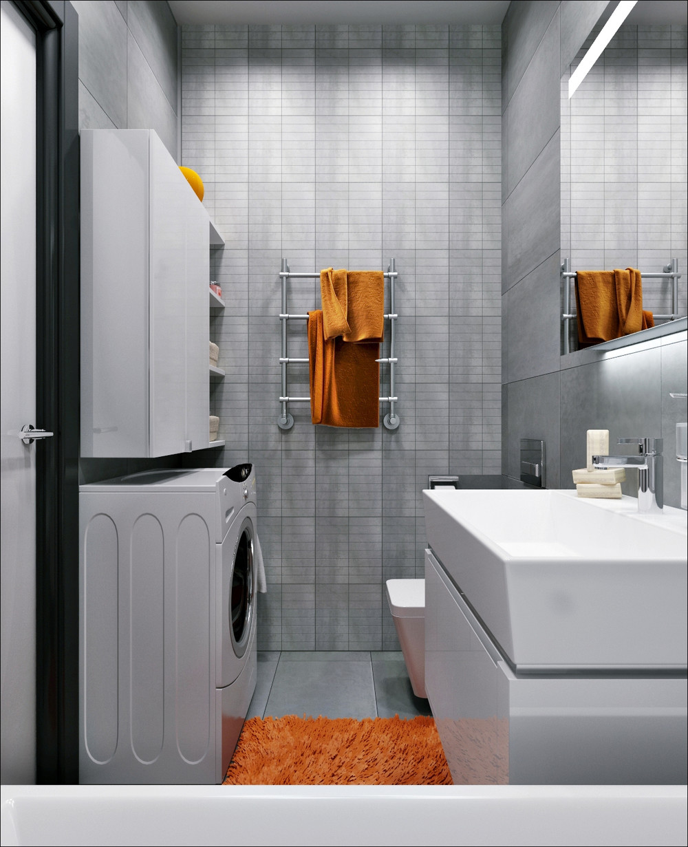 Grey And Orange Bathroom Theme - 3 small apartments that rock uncommon color schemes with floor plans