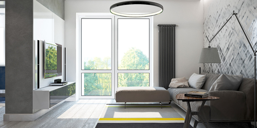 Grey Patterned Wall Grey Living Room - 3 small studio apartments that exude luxurious space