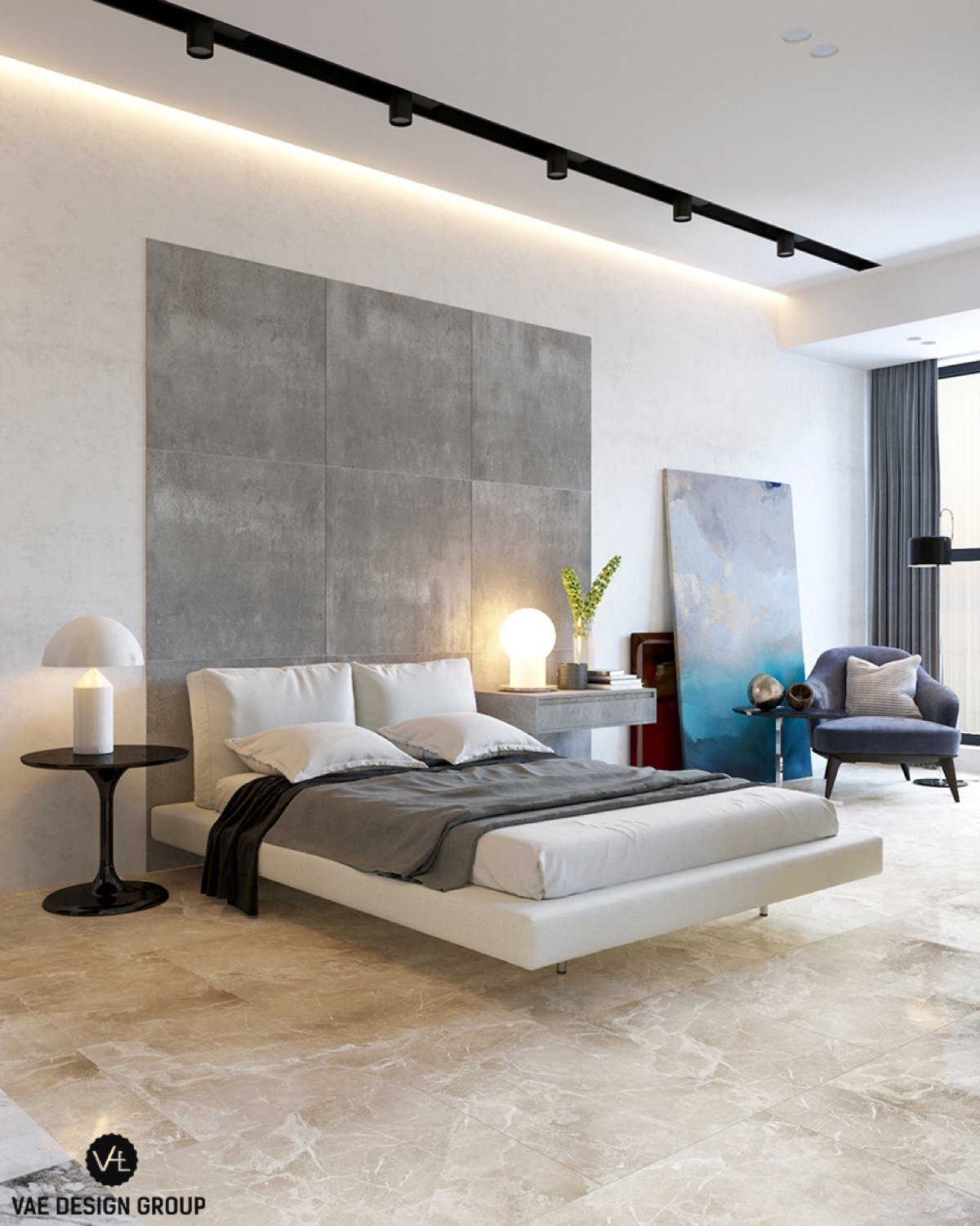 Grey Slate Headboard Modern Bedroom - 3 small studio apartments that exude luxurious space