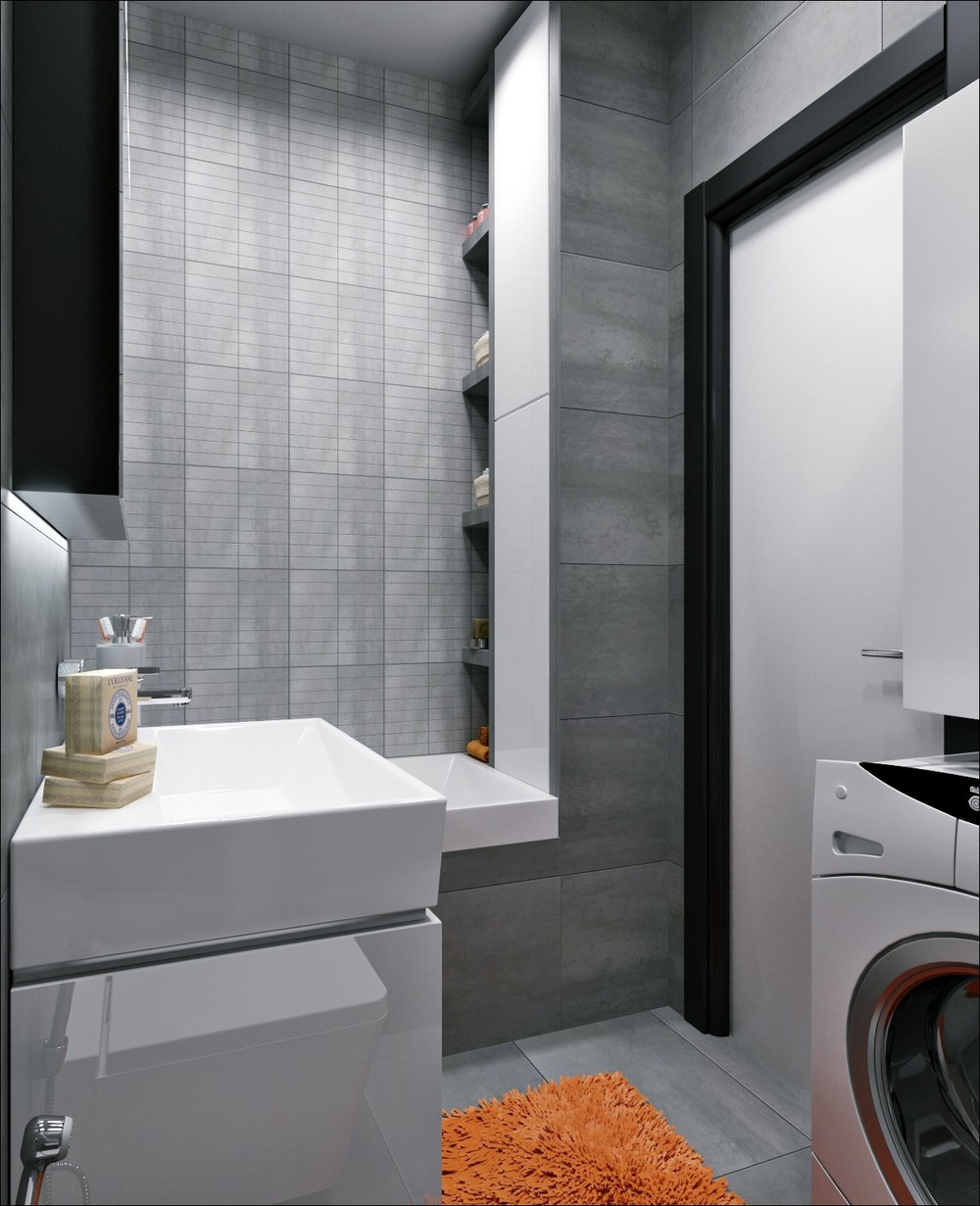 Greyscale Bathroom Design Inspiration - 3 small apartments that rock uncommon color schemes with floor plans