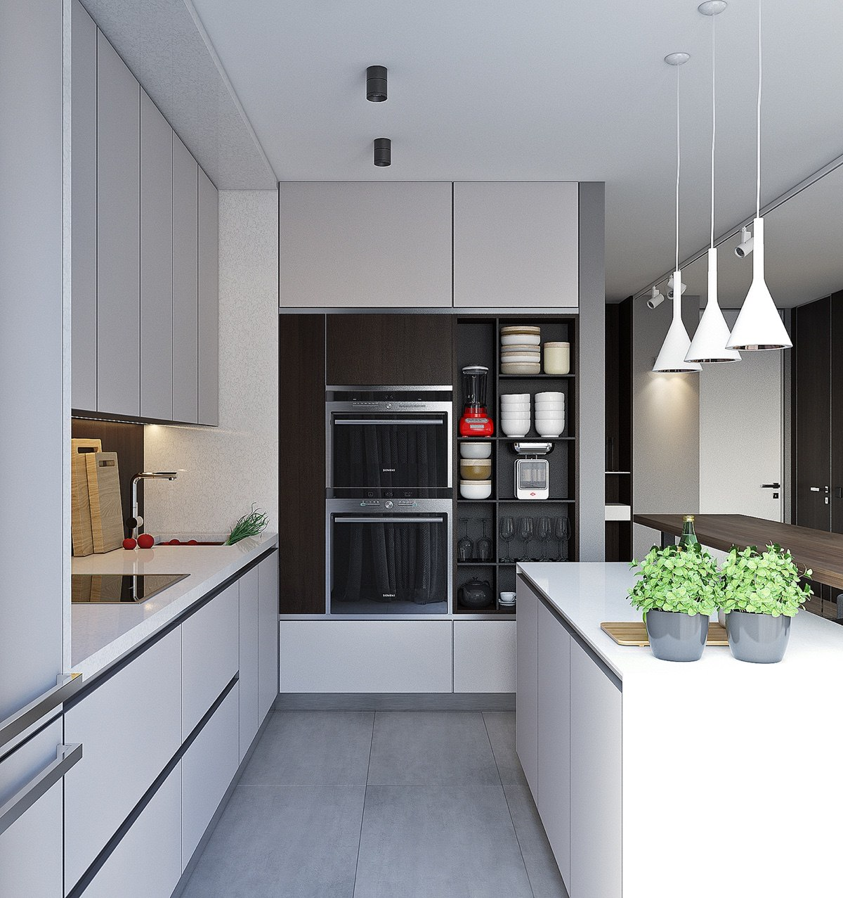 Hidden Stoves Contemporary Kitchen With White Lighting - Spacious looking one bedroom apartment with dark wood accents