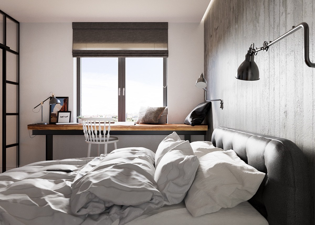 Industrial Inspired Bedroom Style - A beautiful one bedroom bachelor apartment under 100 square meters with floor plan