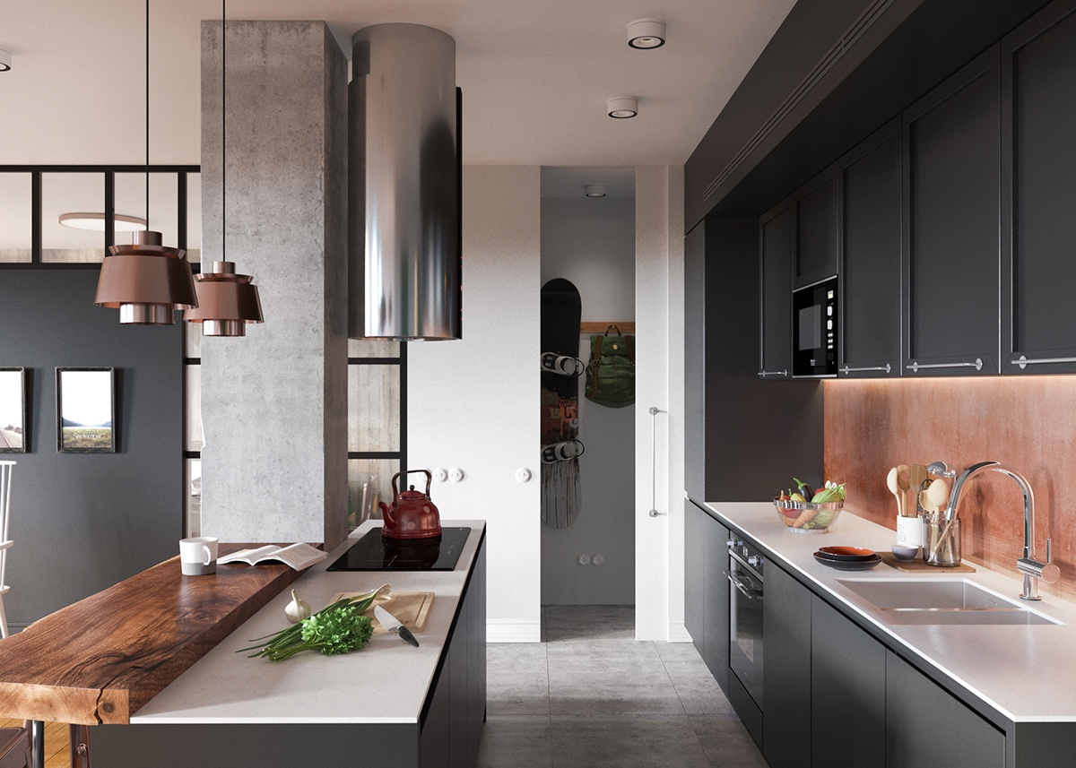 Industrial Kitchen With Copper And Wood - A beautiful one bedroom bachelor apartment under 100 square meters with floor plan