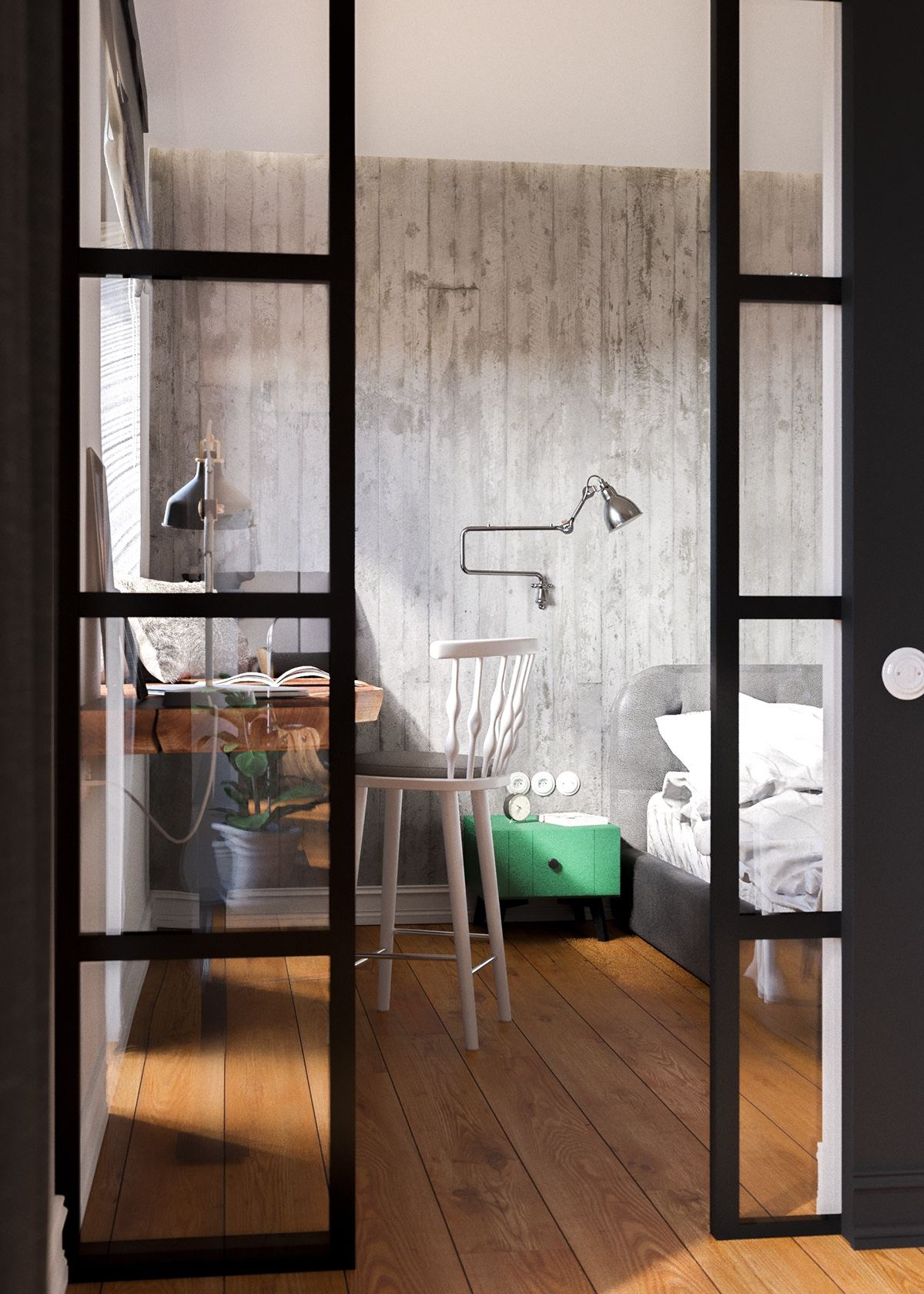 Industrial Meets Classic Bedroom Design - A beautiful one bedroom bachelor apartment under 100 square meters with floor plan