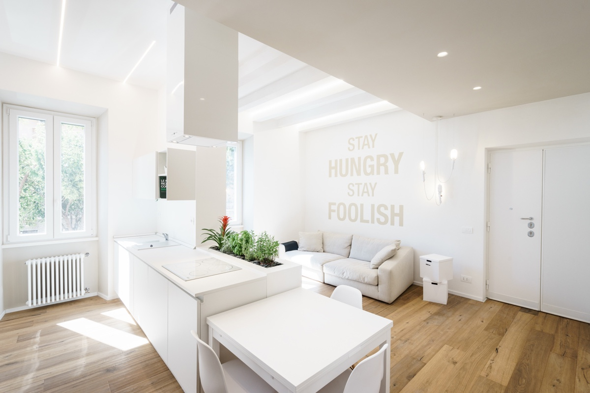 Light And Bright White Minimalist Apartment   4 Small Apartment Interiors  Embracing Character Themes