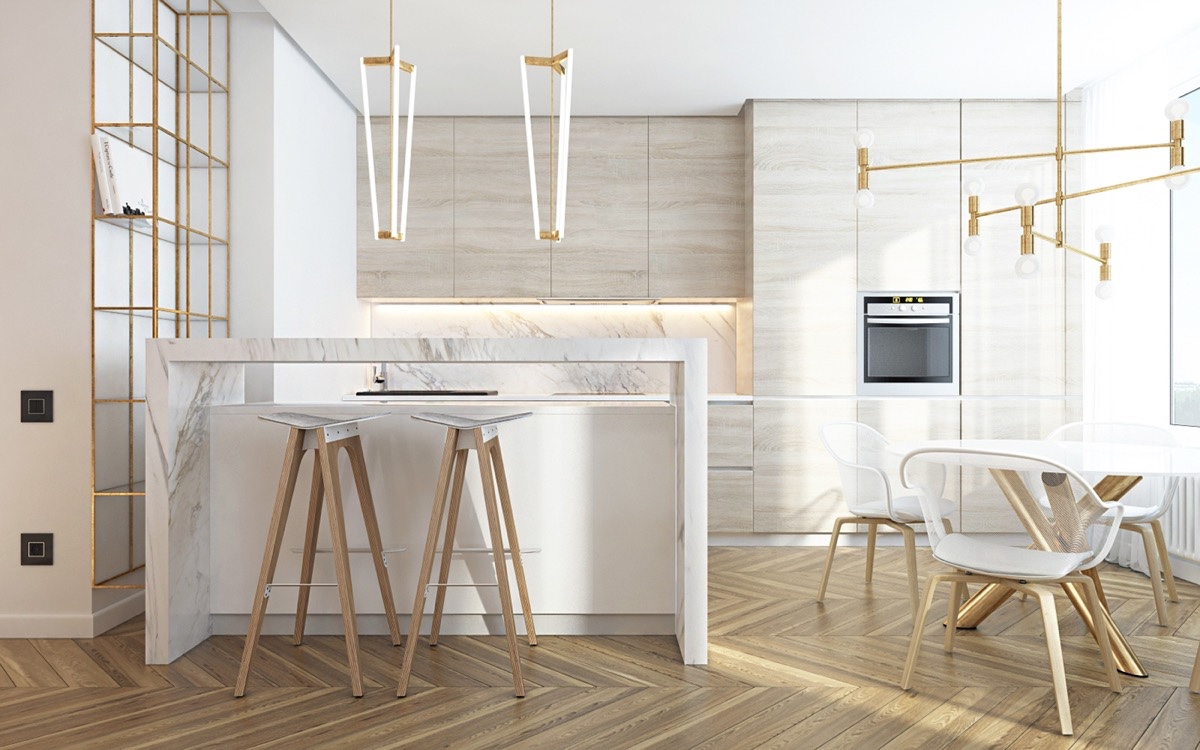 Light And White Scandinavian Marble Kitchen - 36 marvellous marble kitchens that spell luxury