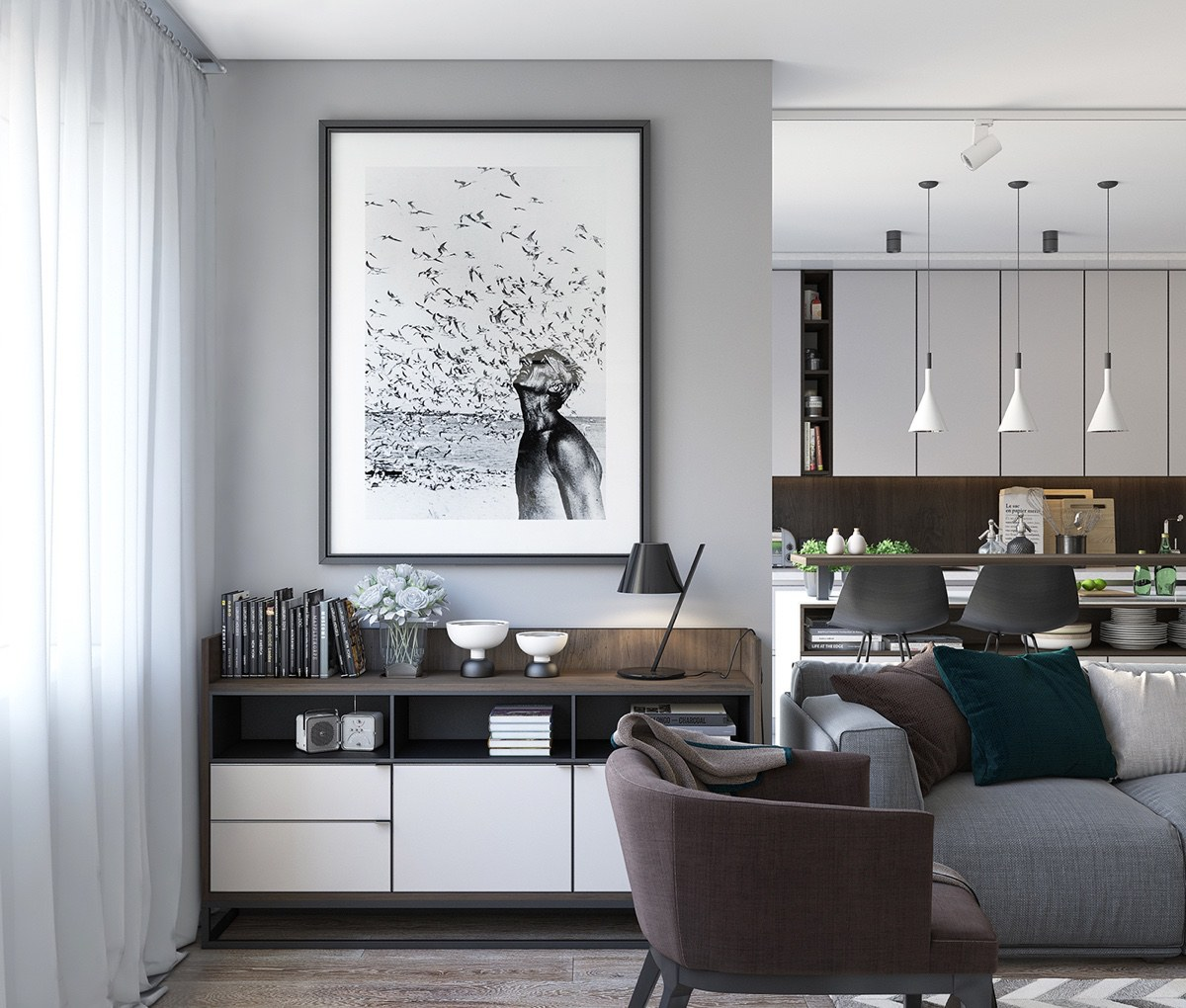 Liquor Cabinet Contemporary Feature Monochrome Print - Spacious looking one bedroom apartment with dark wood accents