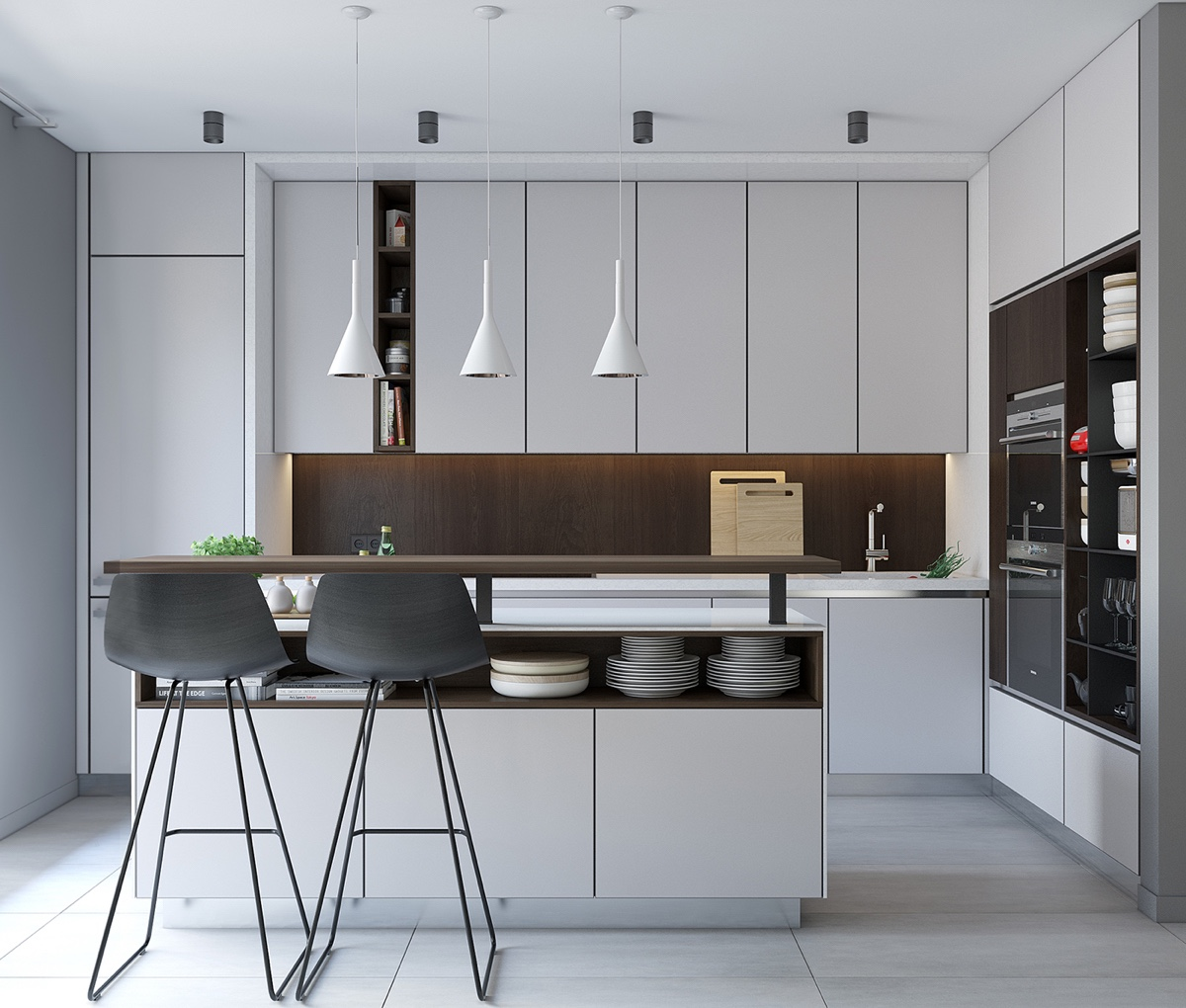 Long Lines Kitchen Vertical Grey Cabinetry - Spacious looking one bedroom apartment with dark wood accents