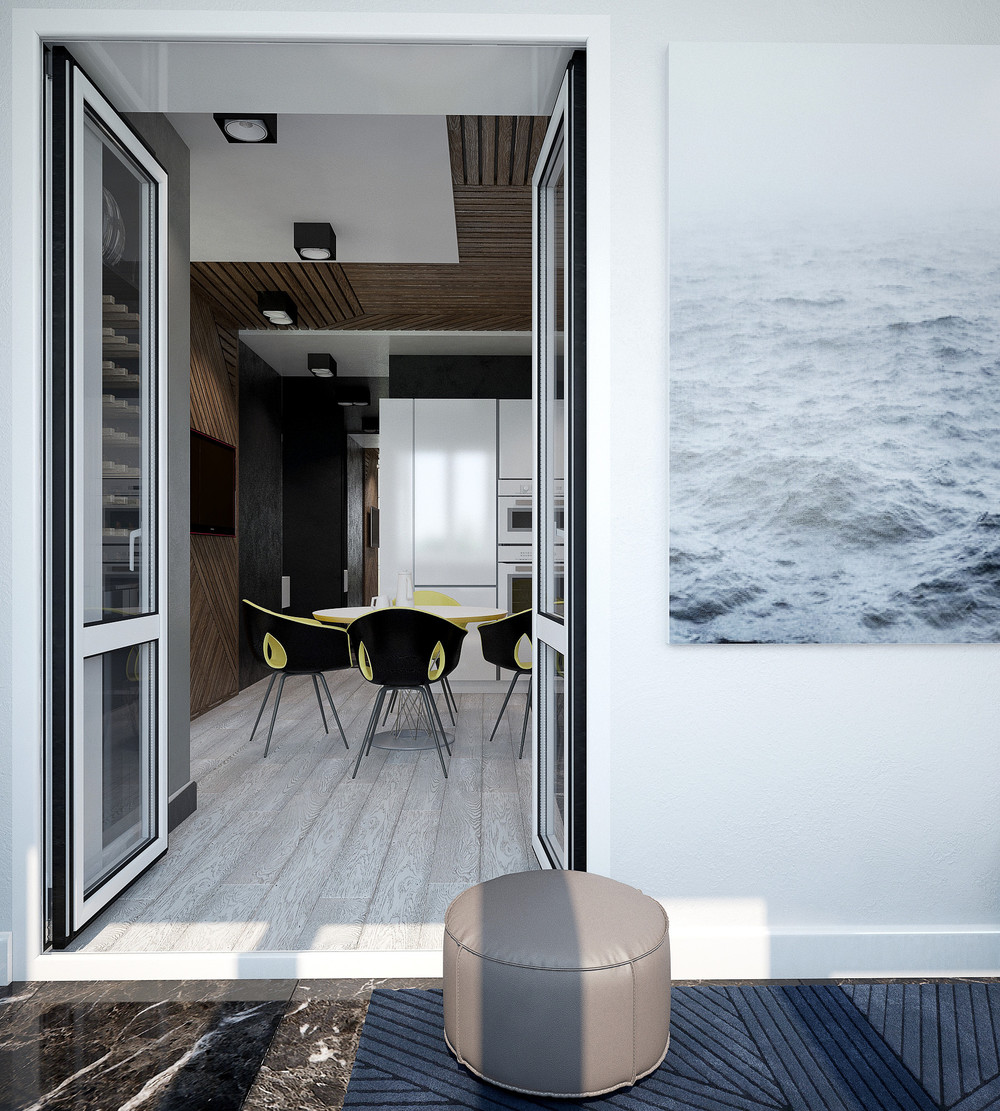 Marble Passageway Grey Artwork Super Modern Apartment - 3 small studio apartments that exude luxurious space