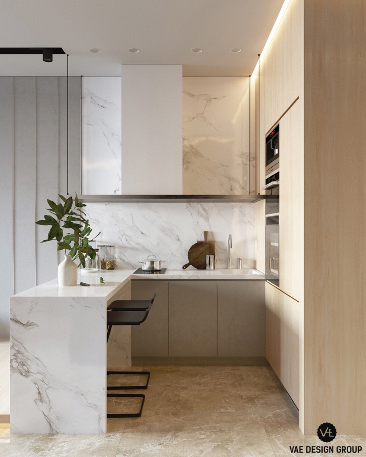 Marble Top Wooden Cabinet Earthy Kitchen - 3 small studio apartments that exude luxurious space