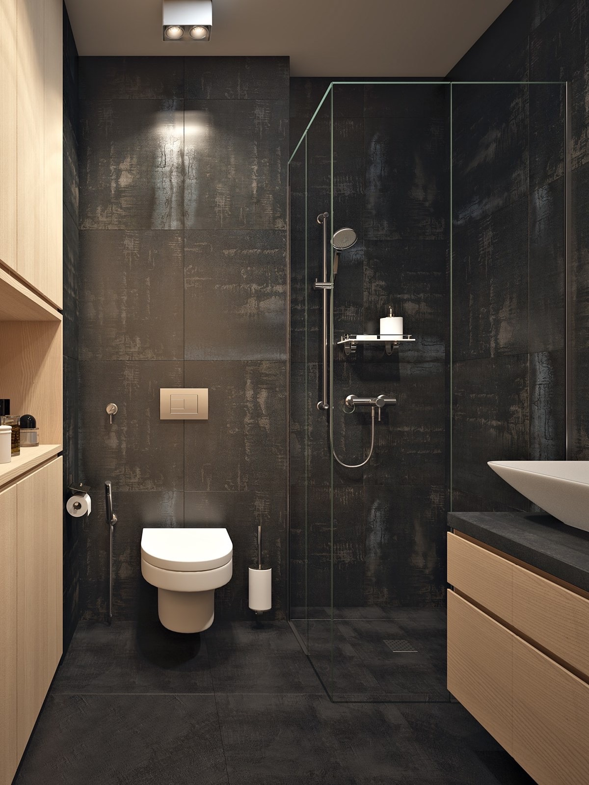 Matte Black And Wood Tiles - 3 small apartments that rock uncommon color schemes with floor plans