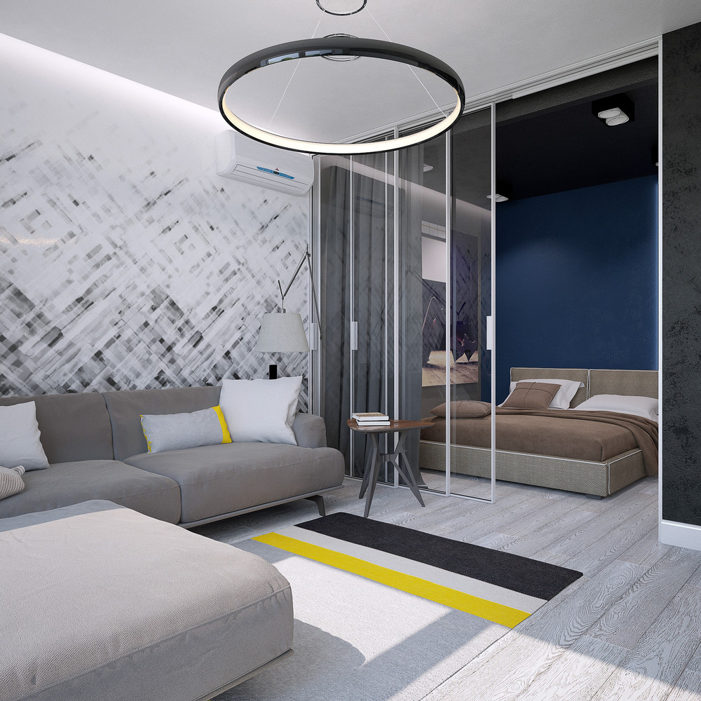 Midnight Blue Bedroom Black And Yellow Rug Modern Apartment - 3 small studio apartments that exude luxurious space