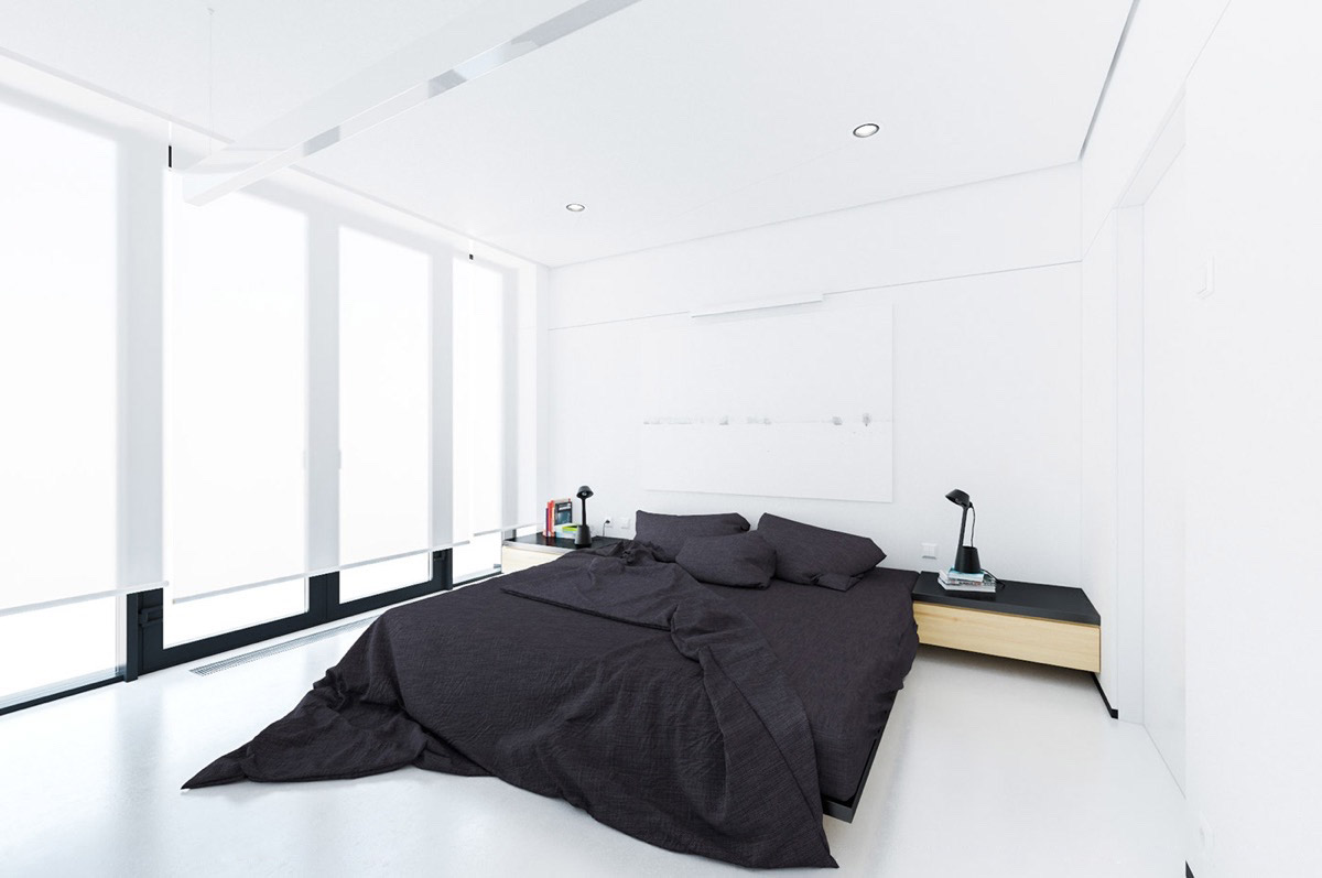 40 serenely minimalist bedrooms to help you embrace simple for Minimalist black and white bedroom