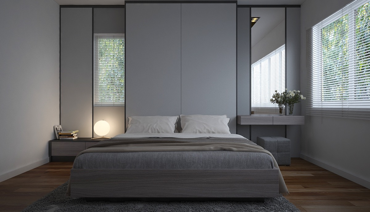 40 Serenely Minimalist Bedrooms To Help You Embrace Simple Comforts - Gray-bedroom-minimalist
