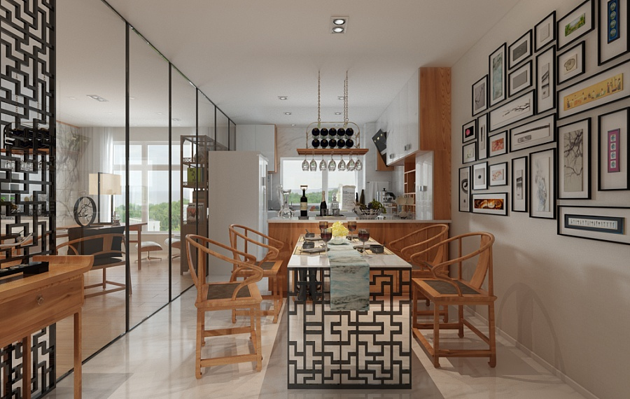 Modern Chinese Dining Room - A beautiful 2 bedroom modern chinese house with zen elements includes 3d floor plan