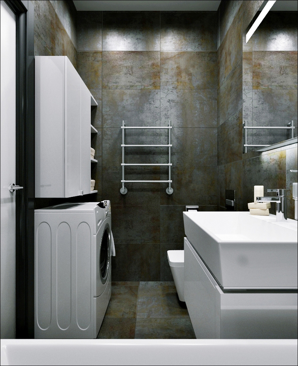 Modern Industrial Bathroom Decor - 3 small apartments that rock uncommon color schemes with floor plans