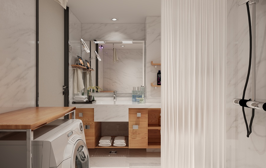 Modern Wood And Marble Bathroom - A beautiful 2 bedroom modern chinese house with zen elements includes 3d floor plan