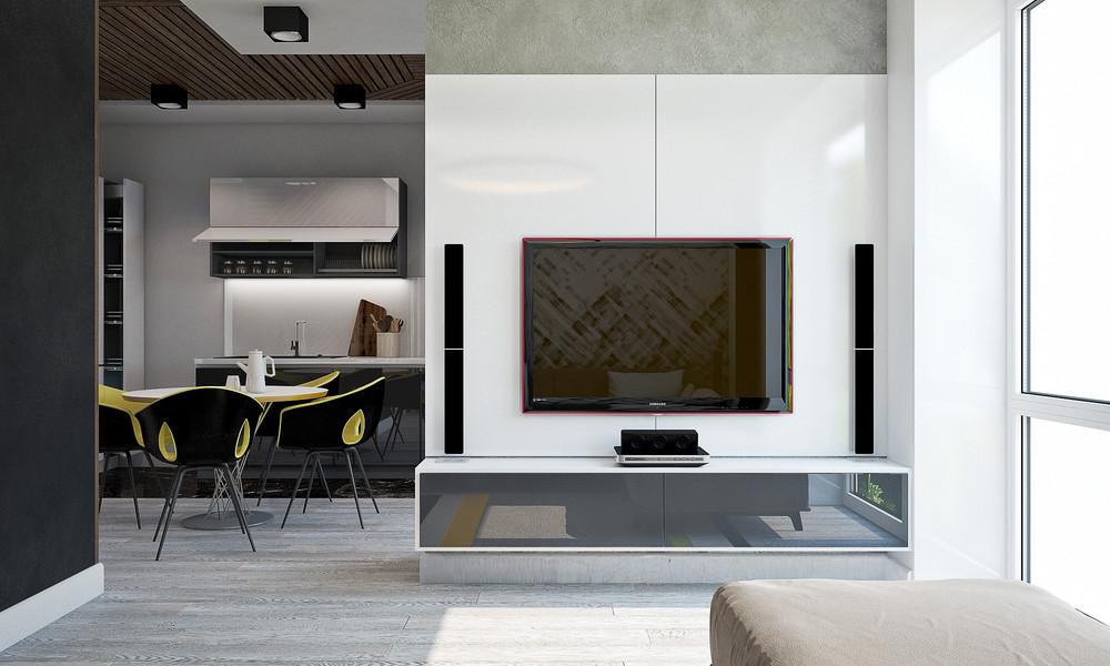 Monochrome Features White Wall Black And Yellow Apartment - 3 small studio apartments that exude luxurious space