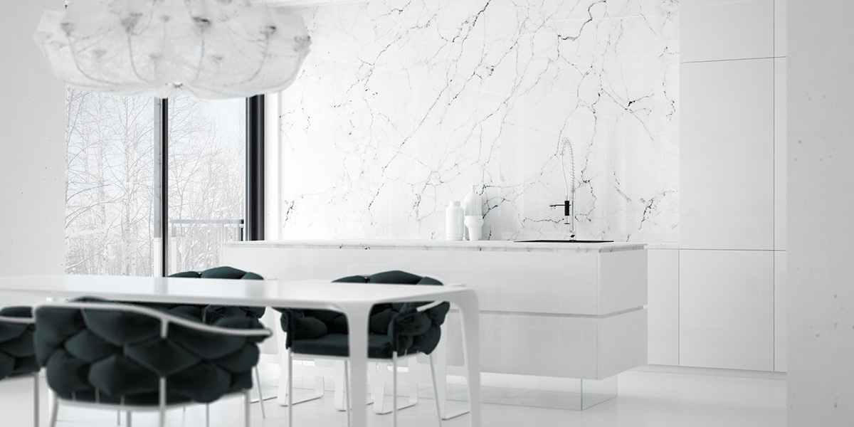 Monochrome Marble Kitchen - 36 marvellous marble kitchens that spell luxury