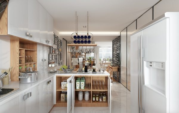 A beautiful 2 bedroom modern chinese house with zen for Kitchen cabinets zen