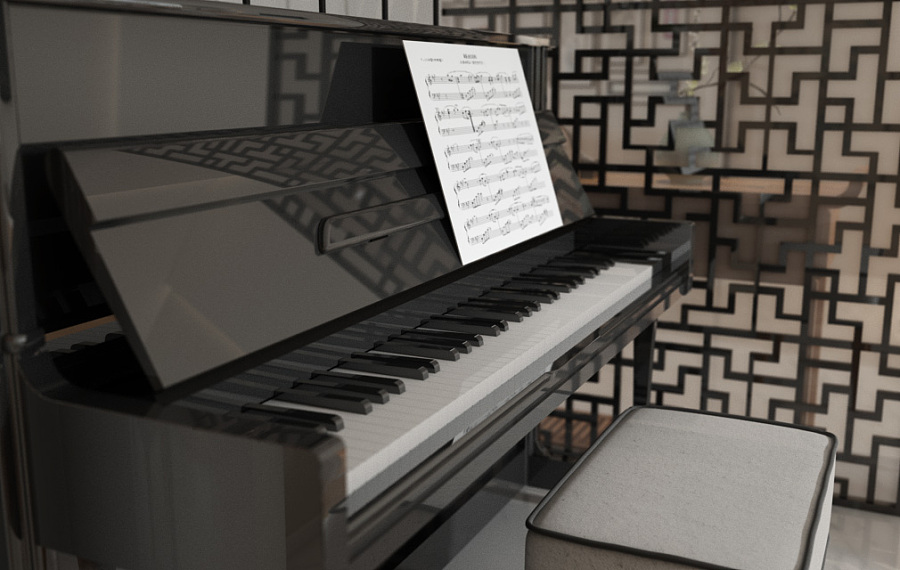 Piano Against Chinese Wall Divider - A beautiful 2 bedroom modern chinese house with zen elements includes 3d floor plan