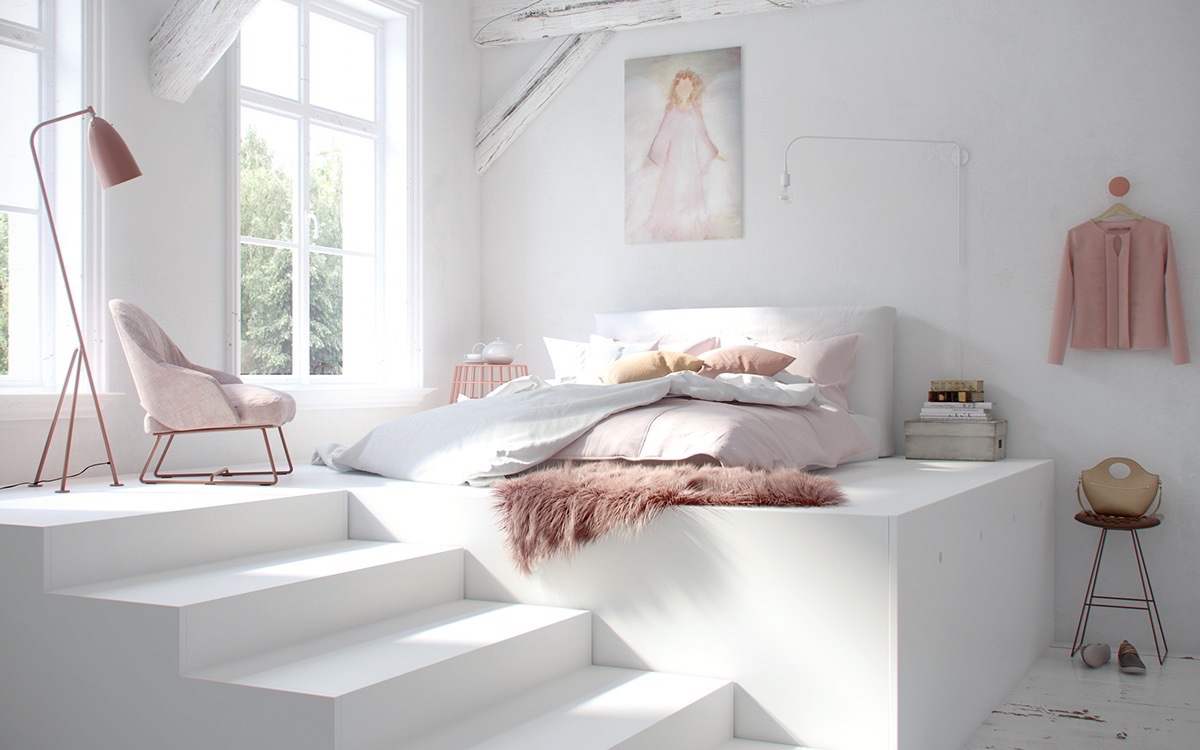 40 serenely minimalist bedrooms to help you embrace simple comforts - Pink and white teenage room ...