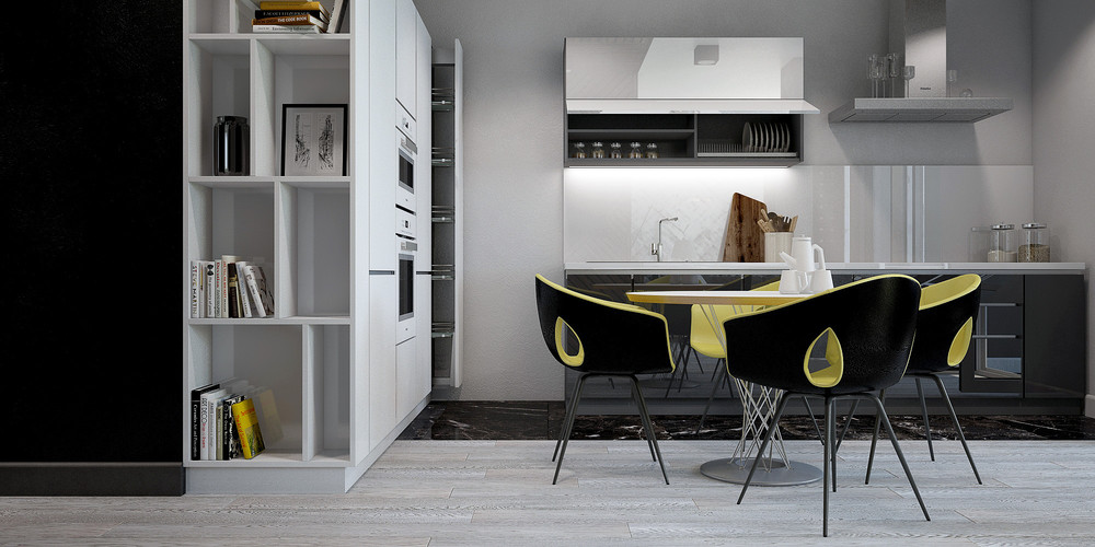 Pod Chairs White Bookcase Black And Yellow Studio - 3 small studio apartments that exude luxurious space
