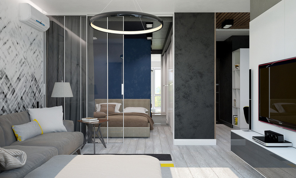 Ring Chandelier Muted Hues Studio Apartment - 3 small studio apartments that exude luxurious space