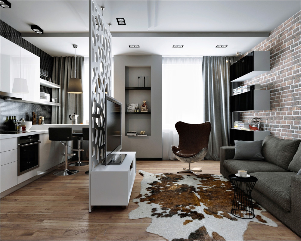 Rustic Meets Modern Interior Decor - 3 small apartments that rock uncommon color schemes with floor plans