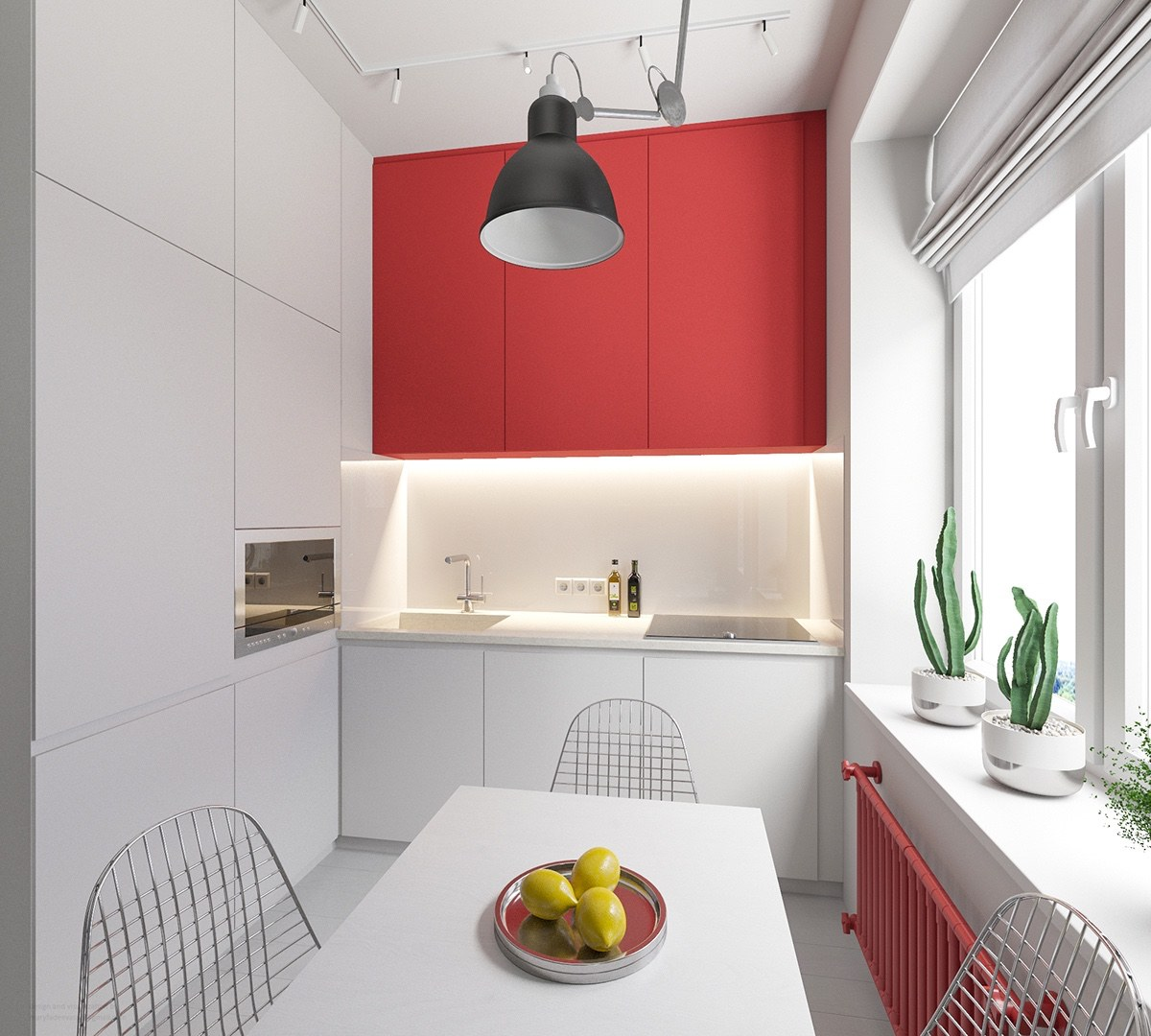 Simple Red And White Kitchen Design - 3 small apartments that rock uncommon color schemes with floor plans