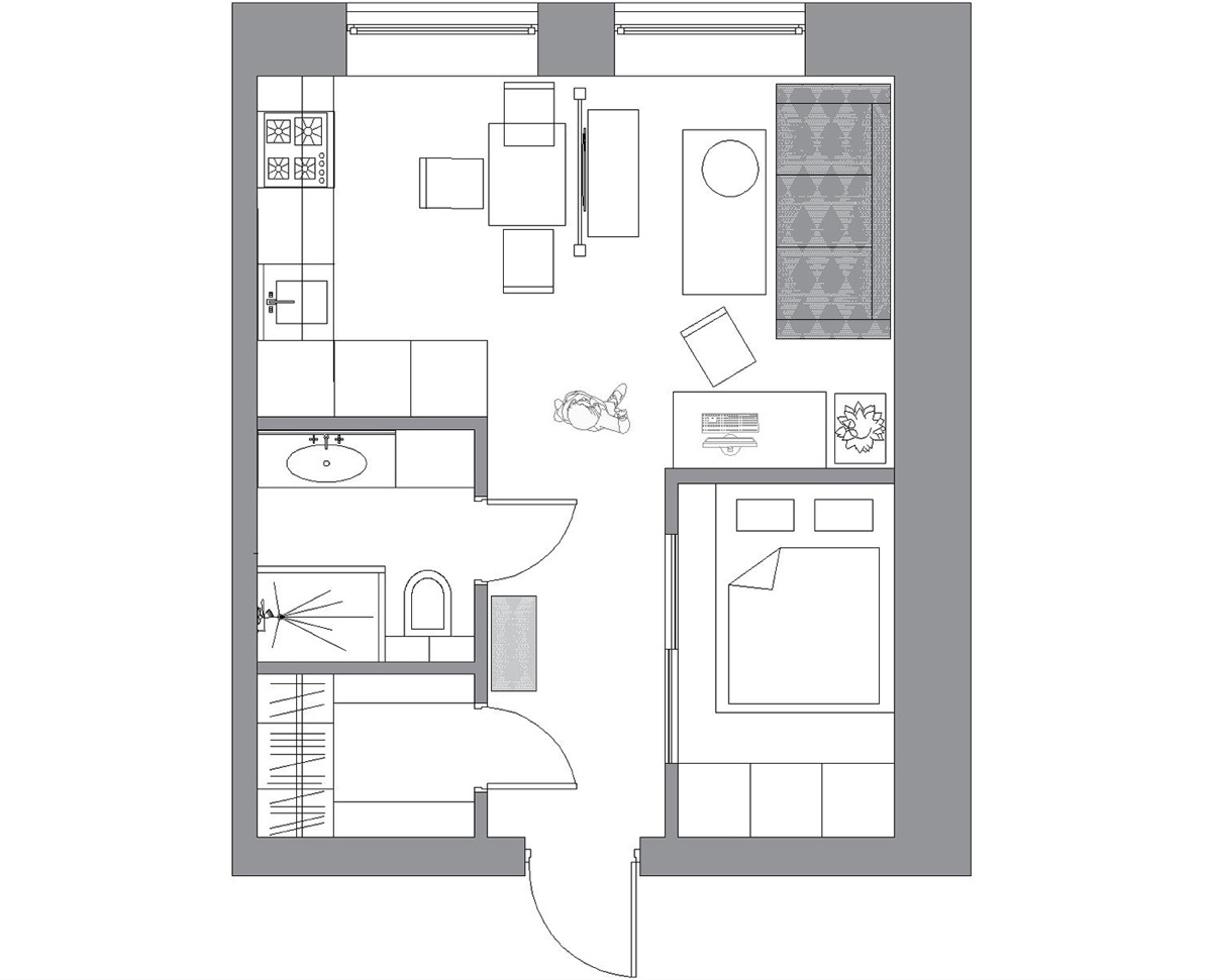 Small Apartment Layout Floor Plan - 3 small apartments that rock uncommon color schemes with floor plans