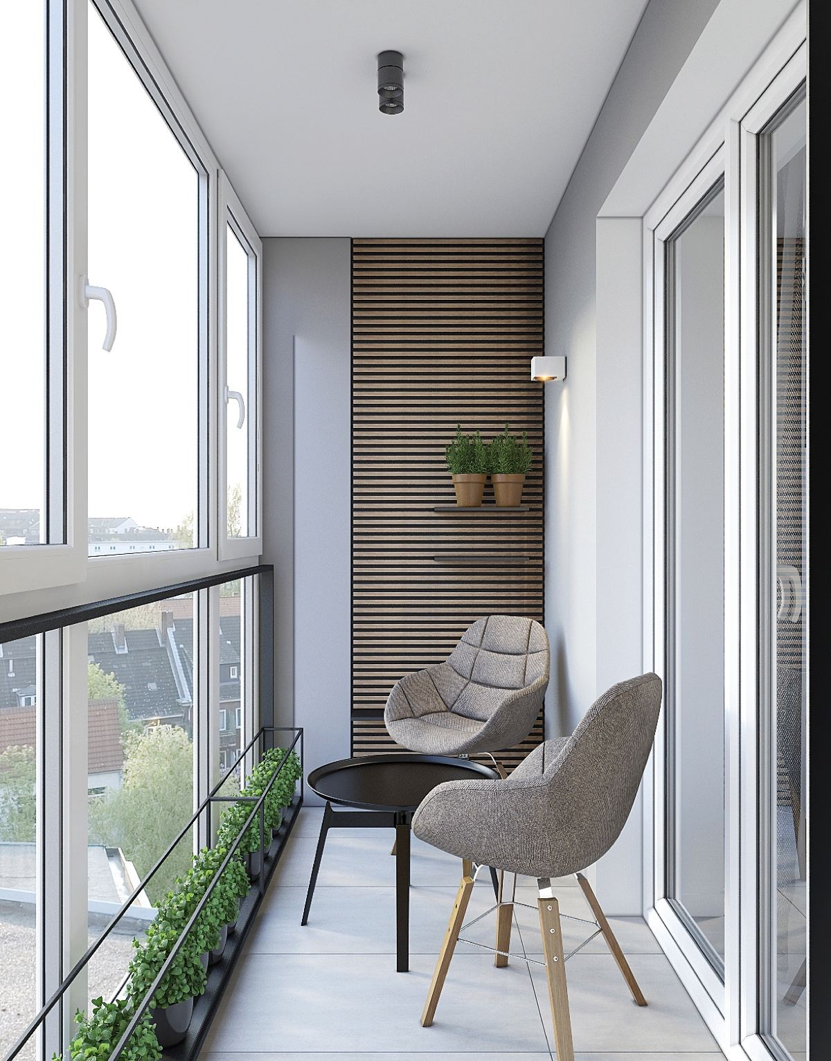 Spacious Balcony Ideas Two Mushroom Linen Chairs - Spacious looking one bedroom apartment with dark wood accents