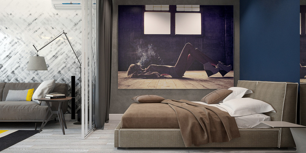 Taupe Bedding Midnight Blue Wall Feature Apartment - 3 small studio apartments that exude luxurious space