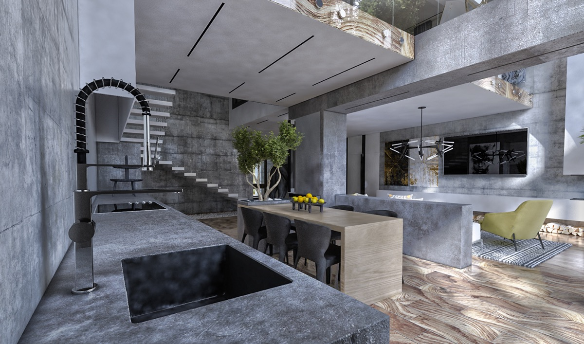 Textured Kitchen Slate Benches Feature Tap - 40 gorgeous grey kitchens