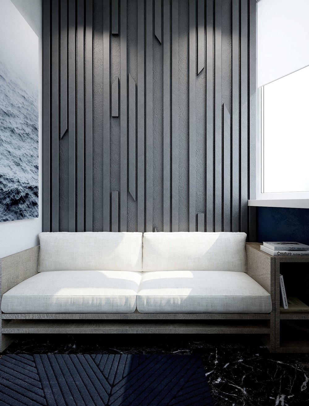 Textured Walls And Floor Elegant Living Room - 3 small studio apartments that exude luxurious space