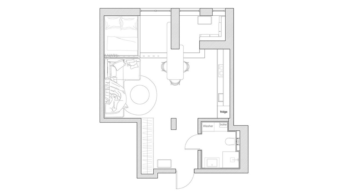 Unique Small Apartment Floor Plan - 3 small apartments that rock uncommon color schemes with floor plans