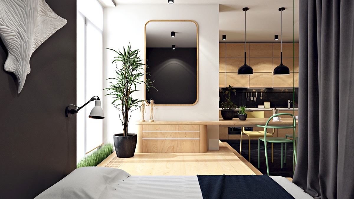 Unique Studio Apartment Layout - 3 small apartments that rock uncommon color schemes with floor plans